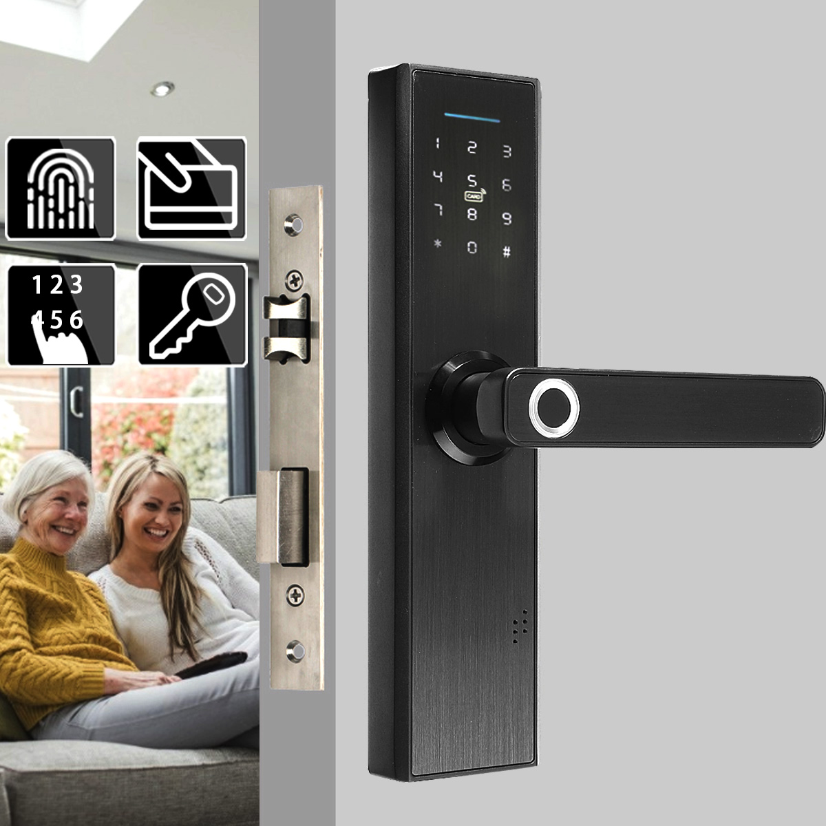 Electronic Door Lock Biometric Fingerprint / Digital Code / Smart Card / Key Touchable Screen Smart Door Lock For Home Hotel