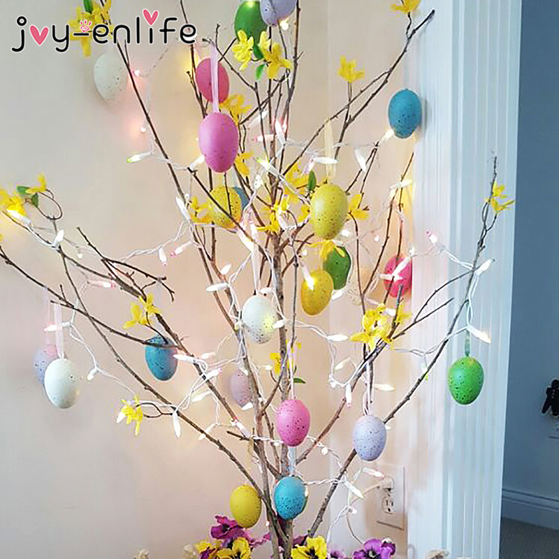 6pcs Colorful Easter Eggs Pendant Plastic Simulation Eggs Gifts Random Mixed Color Pendant Painted Eggs Easter Party Decoration