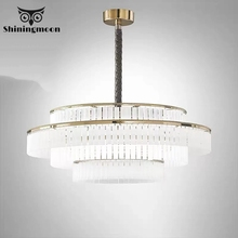 Nordic Luxury Crystal Pendant Lights Modern Frosted Glass Living Room Bedroom Pendant Light Hotel Office Deco Hanglamp Luminaria