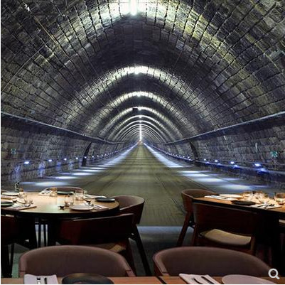 3D Time Tunnel Space Extension Wallpaper Retro Nostalgic Restaurant KTV Bar Internet Cafe Night View Wallpaper Mural