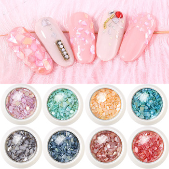 1Box/SET 3D Shiny Abalone Shell Slice Irregular Nail Art Decorations UV Gel Flakes Charms Pearl Jewelry Tips Manicure image