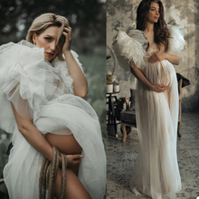 Celebrity-Dress Pregnant-Party Ruffles Sleepwear Maternity-Photoshoot-Gowns Plus-Size
