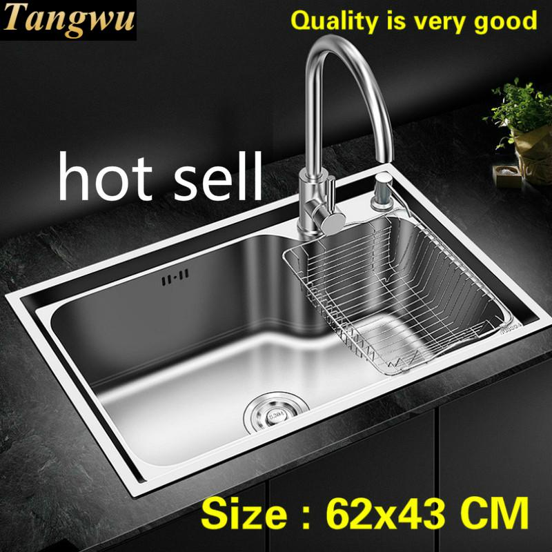 Free Shipping Household Luxury Fashion Kitchen Single Trough Sink Food-grade 304 Stainless Steel Hot Sell 62x43 CM