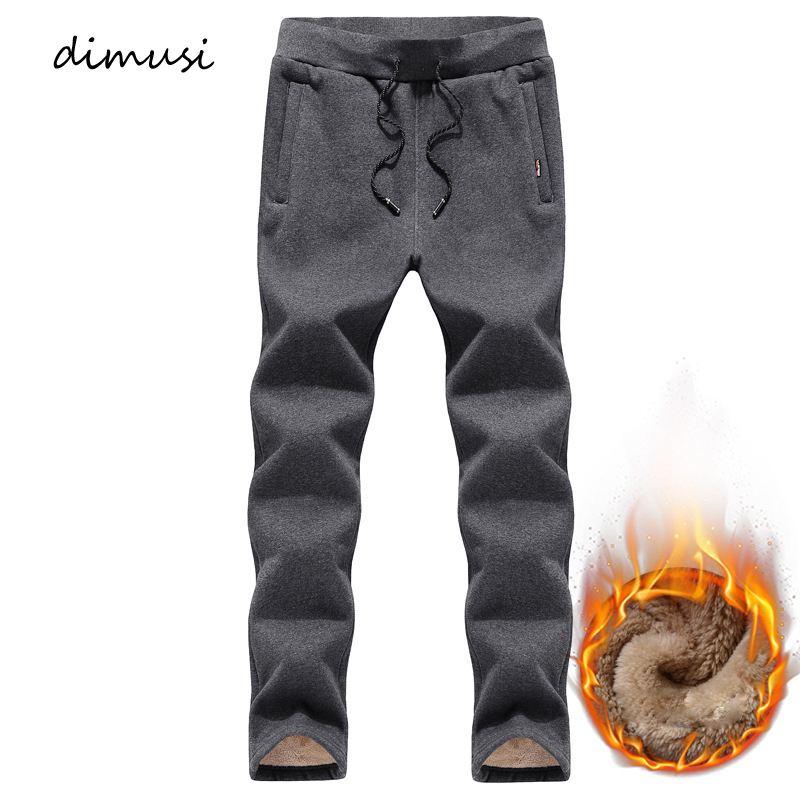 DIMUSI Winter Mens Joggers Pants Casual Fitness Men Thick Fleece Sportswear Tracksuit Sweatpants Trousers Gyms Track Pants 5XL