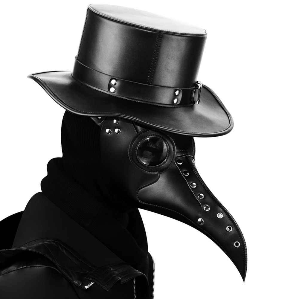 Steampunk Wabah Dokter Masker Burung Hidung Panjang Mewah Masker Cosplay Eksklusif Gothic Retro Rock Kulit Halloween Kostum Masker