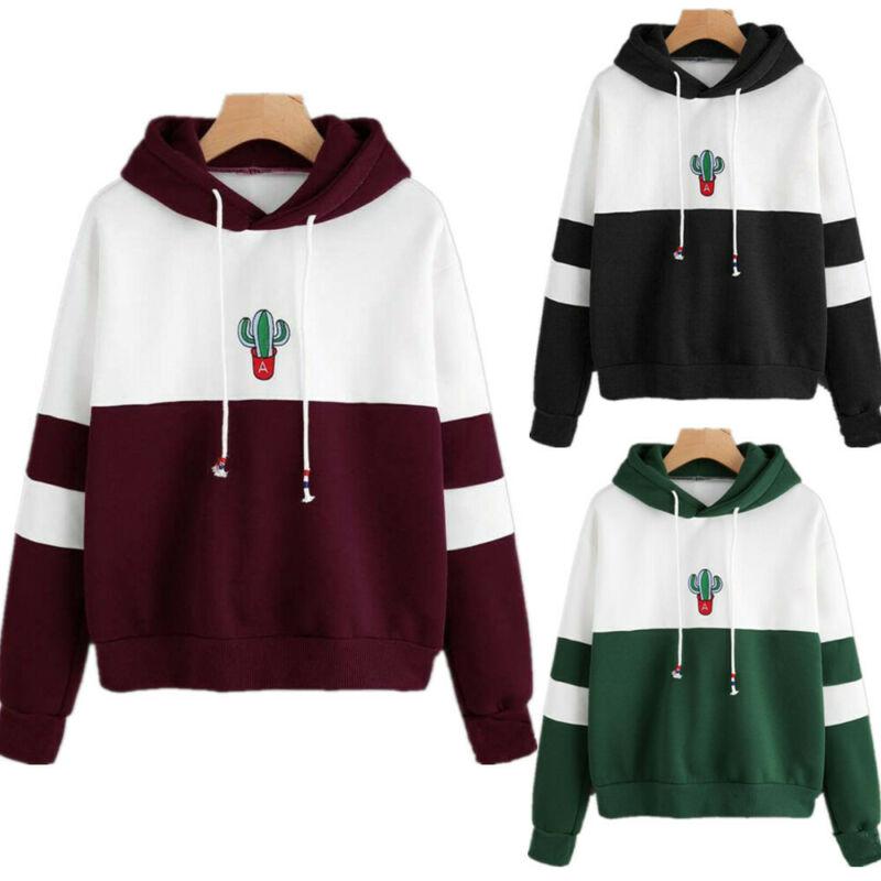 Goocheer 2019 New Women Hoodies Sweatshirt Cactus Print Ladies Contrast Color Pullover Long Sleeve Casual Jumper Tops Hooded