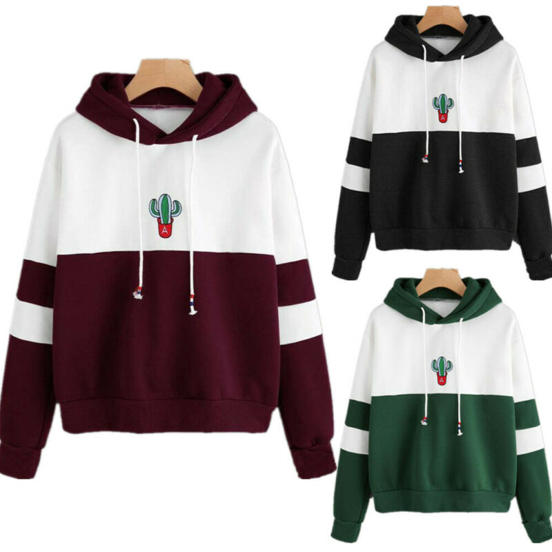 Goocheer 2019 New Women Hoodies Sweatshirt Cactus Print Ladies Contrast Color Pullover Long Sleeve Casual Jumper Tops Hooded