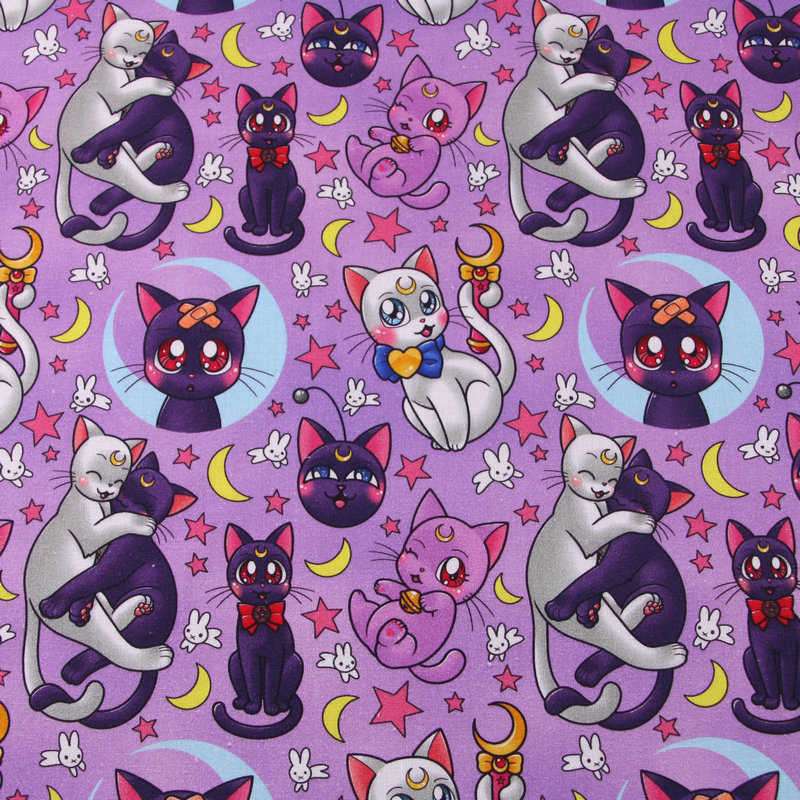 Мультяшная Милая кошка Сейлор Мун Аниме хлопчатобумажная ткань для девочек домашняя текстильная занавеска наволочка DIY рукоделие материал...