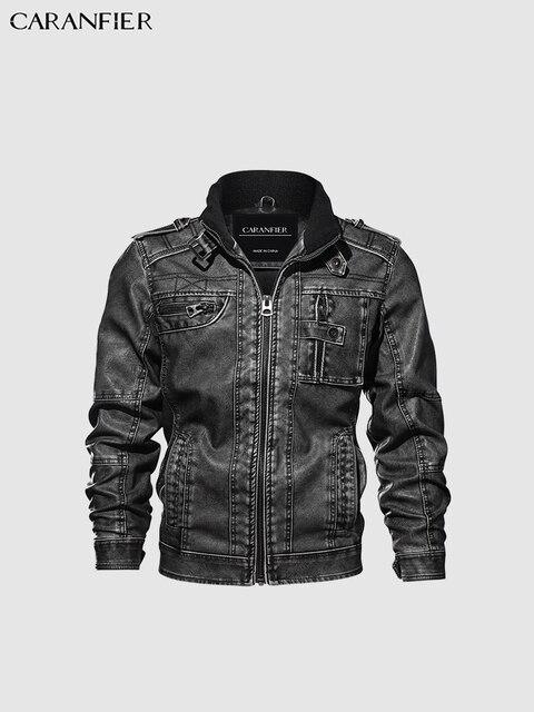 CARANFIER Mens Leather Jackets Stand Collar Zipper  4