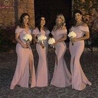 2020 Pink Mermaid Split Bridesmaid Dresses Elegant Sweetheart Neck Off The Shoulder Long Wedding Party Formal Bridesmaid Dress