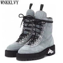 Flat Thick Sole Round Toe Martin Boots Women Suede Metal Decor Lace Up Ankle Botas Autumn Motorcycle Short Boots Platform Shoes