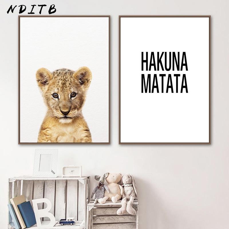 Bonito do bebê animais criança cartaz do berçário citações impressão em tela simples pintura de parede nordic crianças quarto decoração imagem