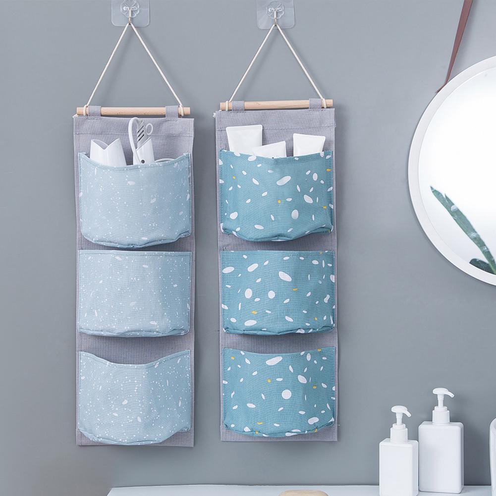 3-Pocket Oxford Cloth Wall Door Hanging Sundries Storage Bag Wardrobe Cotton Linen Bathroom Storage Pouch Cosmetic Toy Organizer