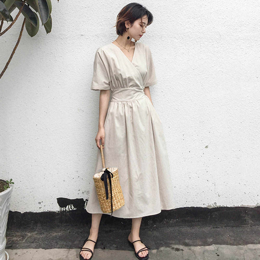 Công Sở Mùa Hè Nữ Vintage Thanh Lịch Nhật Bản Phong Cách Nữ Midi Áo Khoác Vải Lanh Cao Cấp Phối Ren Nữ Hàn Quốc Màu Be Đầm