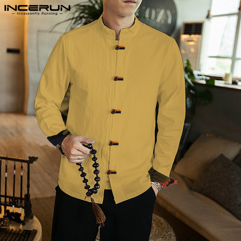 Chinese Style Men Shirt Streetwear Cotton Stand Collar Long Sleeve Camisa Vintage Tang Suit Men 2020 Chic Casual Shirts INCERUN
