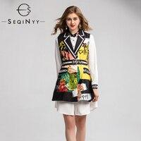 SEQINYY Casual Set 2020 Summer Spring New Fashion Design Women Long Sleeve Mini White Shirt Dress + Vest Flower Letter Print Top