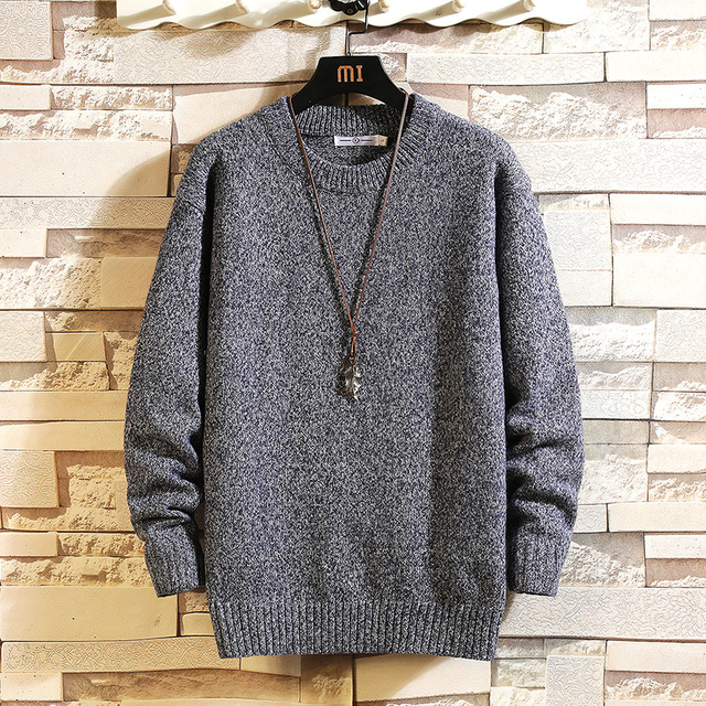2020 New Sweaters Men'S Black Grey Long Sleeves Autumn Winter Pullover Knitted O Neck Plus OverSize 5XL