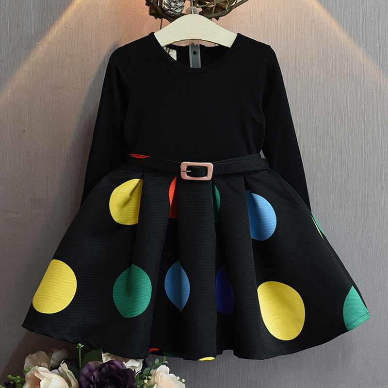 2019 Girls Kids Belt Stitching Black Princess Dresses Long Sleeve Polka Dot Dress  Children Spring Autumn Party Wedding Clothing