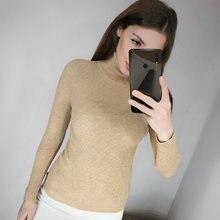 Женский Теплый свитер в рубчик плотный вязаный пуловер с высоким