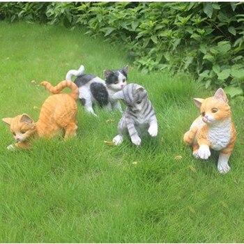 Creative garden simulation cat crafts ornaments, living room home decorations, resin animal crafts, garden decoration