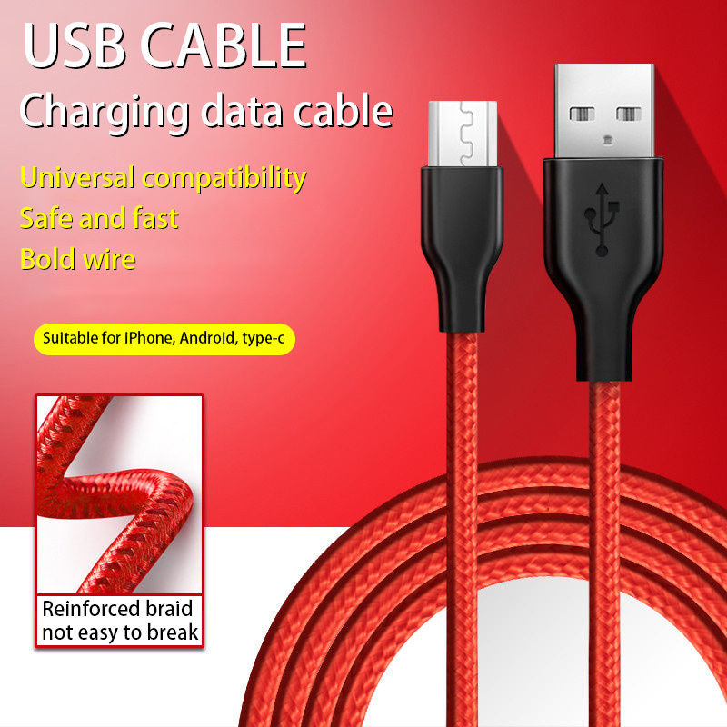 Micro USB TypeC knitting Cable For iPhone Huawei Samsung Xiaomi USB Cord With Light LED90 Degree Elbow Fast Charging Data Cables