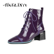AIKELINYU Brand Design Autumn Winter Women Shoes High Heels Ankle Boots Chunky Heels Patent Leather Ladies lace up Shoes Woman women high heels black genuine leather ankle lace up shoes woman high heels round toe autumn womans shoes yl02 muyisexi