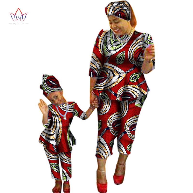 2020 Summer New Sale Traditional Fashion Matching Dashiki Clothes Mother And Son Baby Family African Clothing Sets Wyq90