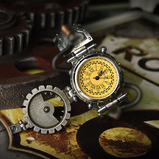 2020 Steampunk Watch Mens Chronograph Retro Prop Chronograph Quartz Watch Relojes Hombre Original Wristwatch Of Brassy Movements