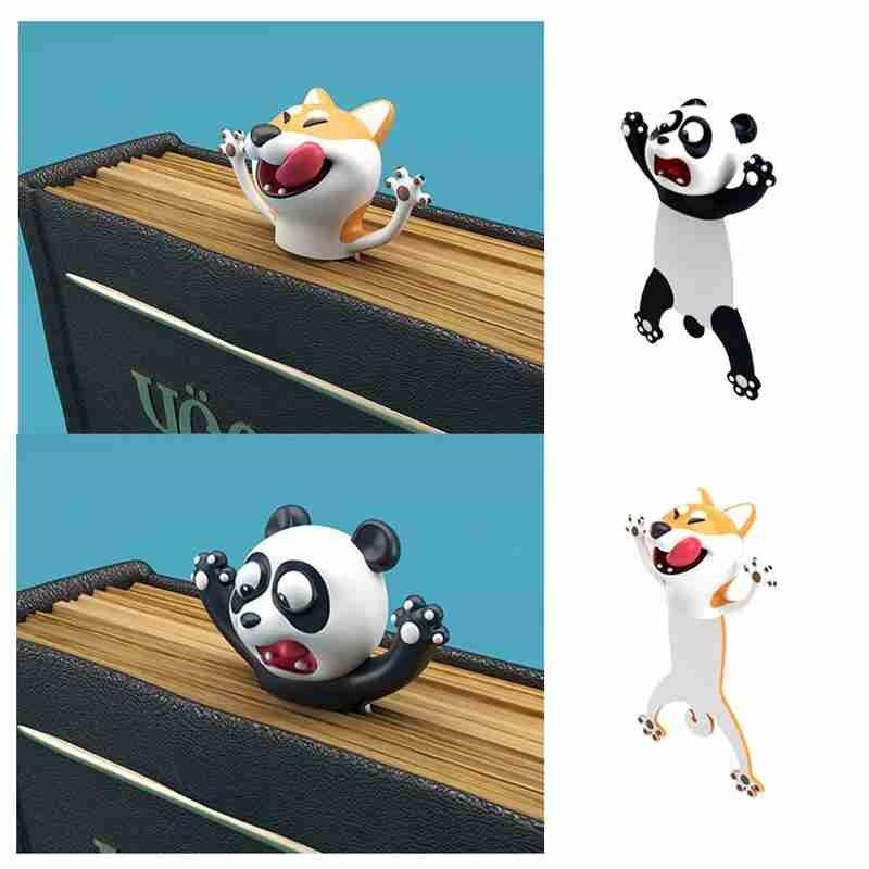 3D Stereo Kawaii Cartoon Lovely Animal Bookmark Panda Dog Original Cute PVC Material Children School Stationery For Kids Gift