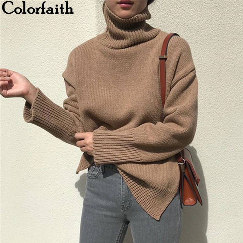 Colorfaith Women's Sweaters Autumn Winter 2019 Pullover Knitting Turtleneck Minimalist Solid Long Sleeve Loose Tops SW7400