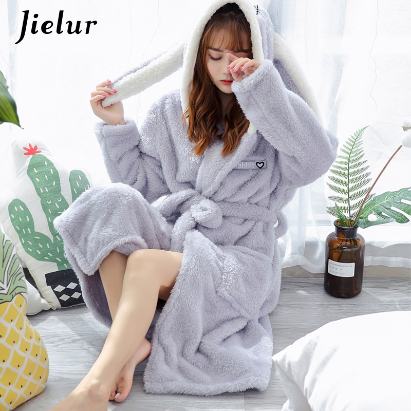 Jielur Hooded Robe Sleepwear Kimono Dressing-Gowns Flannel Coral Warm Rabbit Women Cute title=