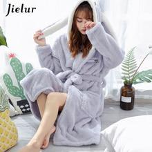 Jielur Coral Velvet Bathrobe Women Cartoon Cute Warm Hooded Robe Rabbit Flannel Kimono Bath Robe Dressing Gowns Sleepwear