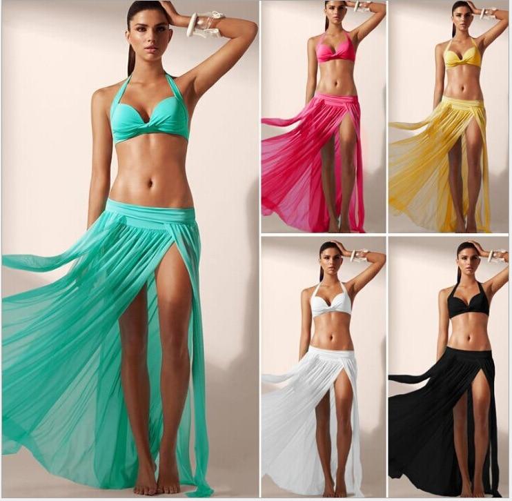 Europe And America Elasticity Gauze Beach Skirt, 4 PCs Skirt Bikini Cover-up (Excluded Bikini)