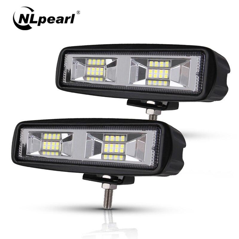 Nlpearl montagem da luz do carro luzes de nevoeiro led fora da estrada 4x4 48 w feixe de ponto barra de luz led para caminhões jeep atv suv drl led spotlight