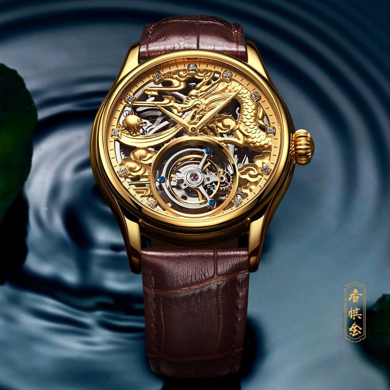 Nuevo GUANQIN reloj de Tourbillon Original de marca superior de lujo impermeable esqueleto zafiro Mecánico Tourbillon reloj masculino-in Relojes mecánicos from Relojes de pulsera    3
