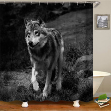 Cartoon cute different specifications small wolf pattern shower curtain polyester thick waterproof