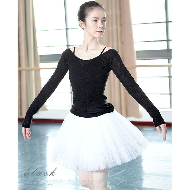 Dance Knitted Sweater Lady Long Sleeve Ballet Tops Autumn Winter Warm Slim Gymnastic Clothing For Women Bailarinas Mujer