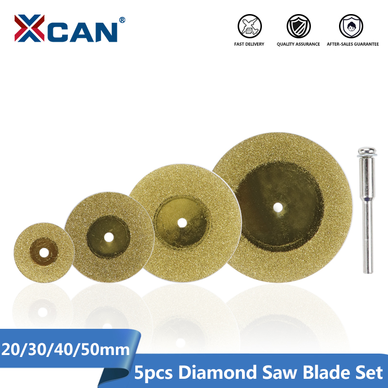 XCAN 1Set Mini Diamond Cutting Disc 20/30/40/50mm With Shank 3mm Mandrel Titanium Coated Circular Saw Blade