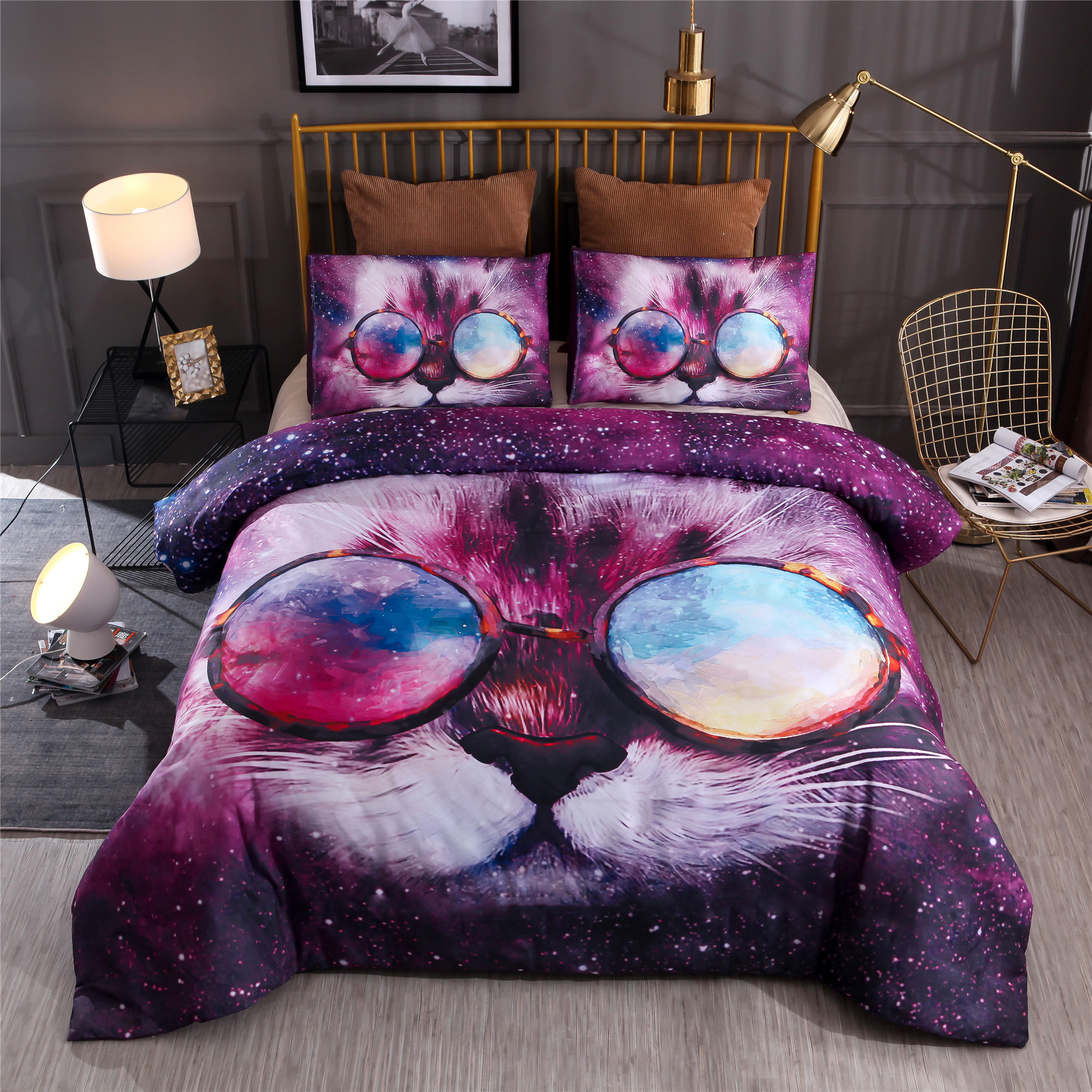 BEST.WENSD Galaxy Animals Bedding Sets 3D Cat Duvet Cover Pilowcases Comforter Bedding Sets European and American Style Bed Sets