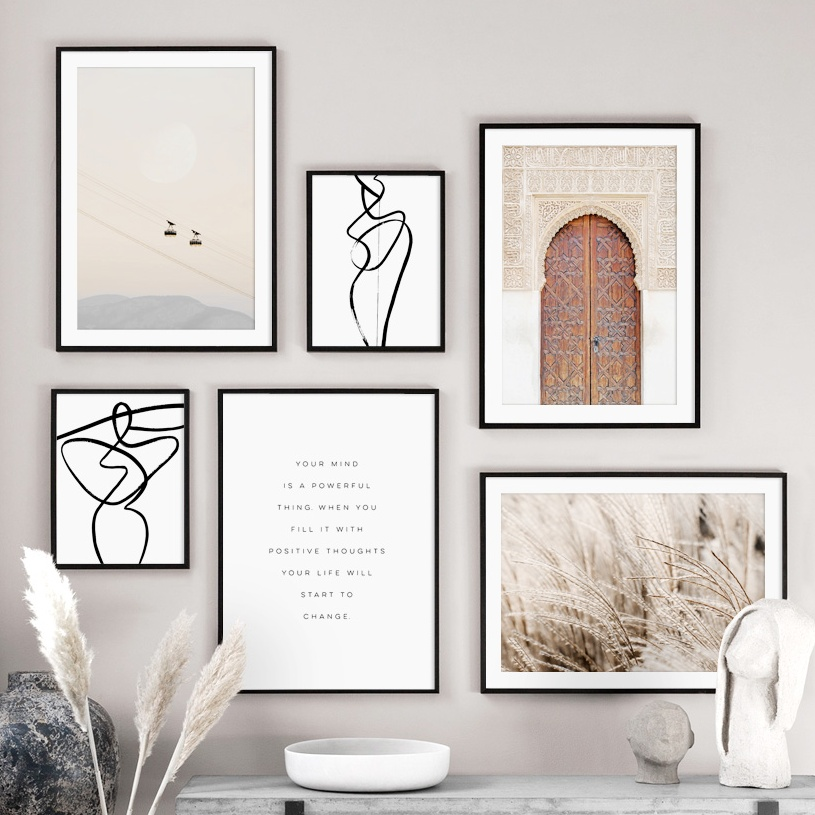 Morocco Door Abstract Line Body Art Farm Plant Nordic Posters And Prints Wall Art Canvas Painting Wall Pictures For Living Room