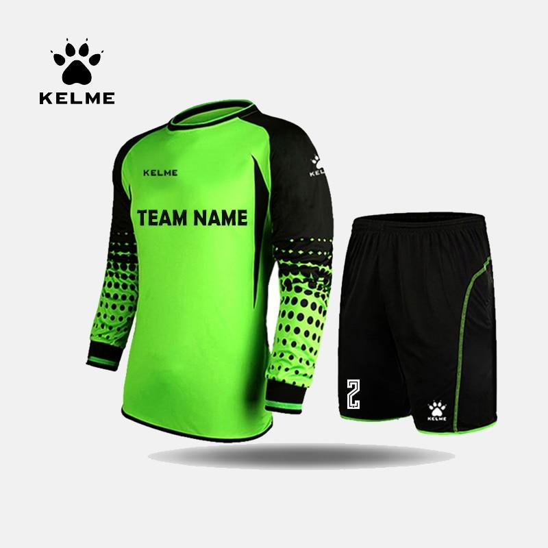 KELME Custom Football Jerseys Goalkeeper Jersey Men Long Sleeve Football Uniform Soccer Shorts Traning Sponge Protector 3491979