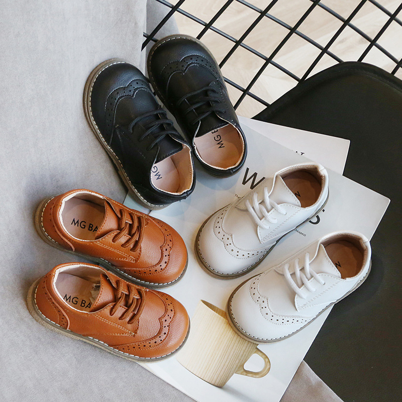 2020 High Quality Children Leather Shoes Boys Sneakers Breathable Baby Toddler Shoes Flat Lace Up Leisure Boys Sneaker C12214