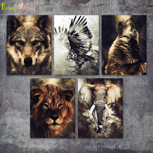 Animals Lion Wall Art Canvas Painting Eagle Elephant Nordic Poster Wolf Pictures For Living Room Bear Home Decor Unframed