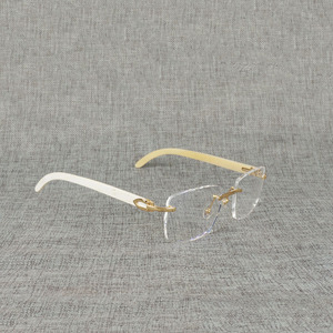 Image 2 - Vintage Natural Wood Clear Glasses Buffalo Horn Oversize Rimless Eyeglasses Frame for Men Reading Optical Square Women Glasses