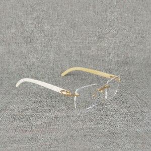 Image 2 - Vintage Naturale Legno Chiaro Occhiali di Corno di Bufalo Oversize Occhiali Senza Montatura Telaio per Gli Uomini Donne Quadrati Occhiali Da Lettura Ottica