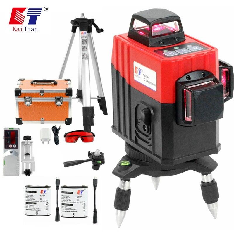 Kaitian 3D 12 Linhas de Nível A Laser Tripé Auto-Nivelamento Horizontal 360 & Vertical Poderosa Bateria Do Laser Cruz Vermelha Ao Ar Livre detector