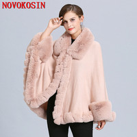 SC367 2019 Winter Warm Big Fur Neck Pink Cloak Women Hairy Cardigan Faux Fox Fur Cape Knitted Poncho With Fur Batwing Sleeves