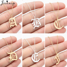 Kadın A-Z alfabe mektubu kolye kolye paslanmaz çelik zincir eski İngilizce yazı tipi İlk kolye Glamour takı collier