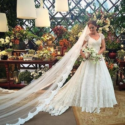 One Layer Cathedral Wedding Veil Lace Ivory White Bridal Veil with Comb 1T 3.5M Long