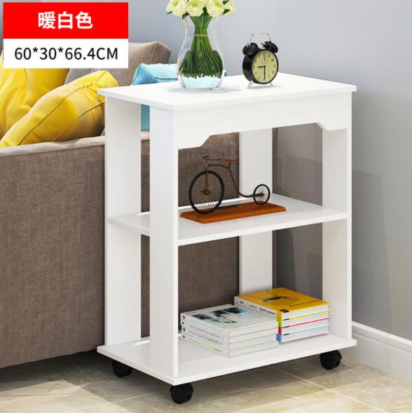 Wooden Side Coffee Table with Shelf and Wheels